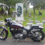 Goth bike photographed in cemetery